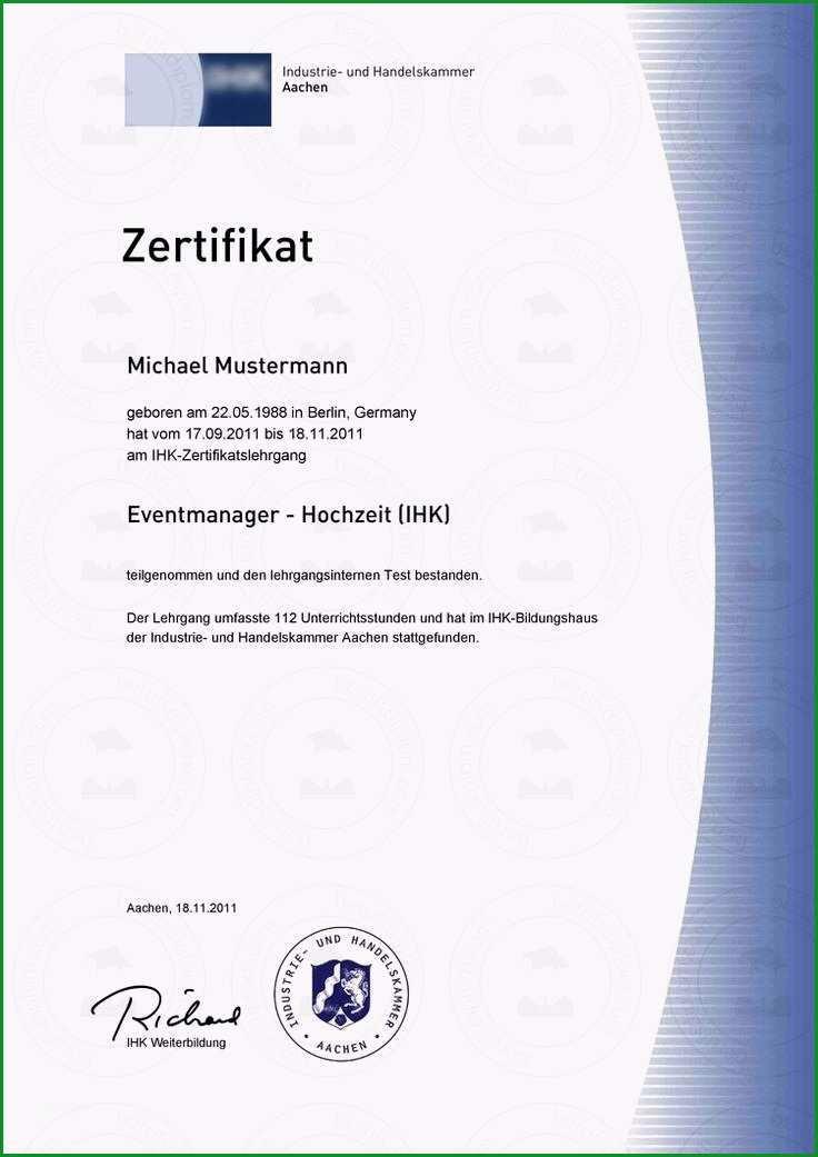 zertifikat vorlage