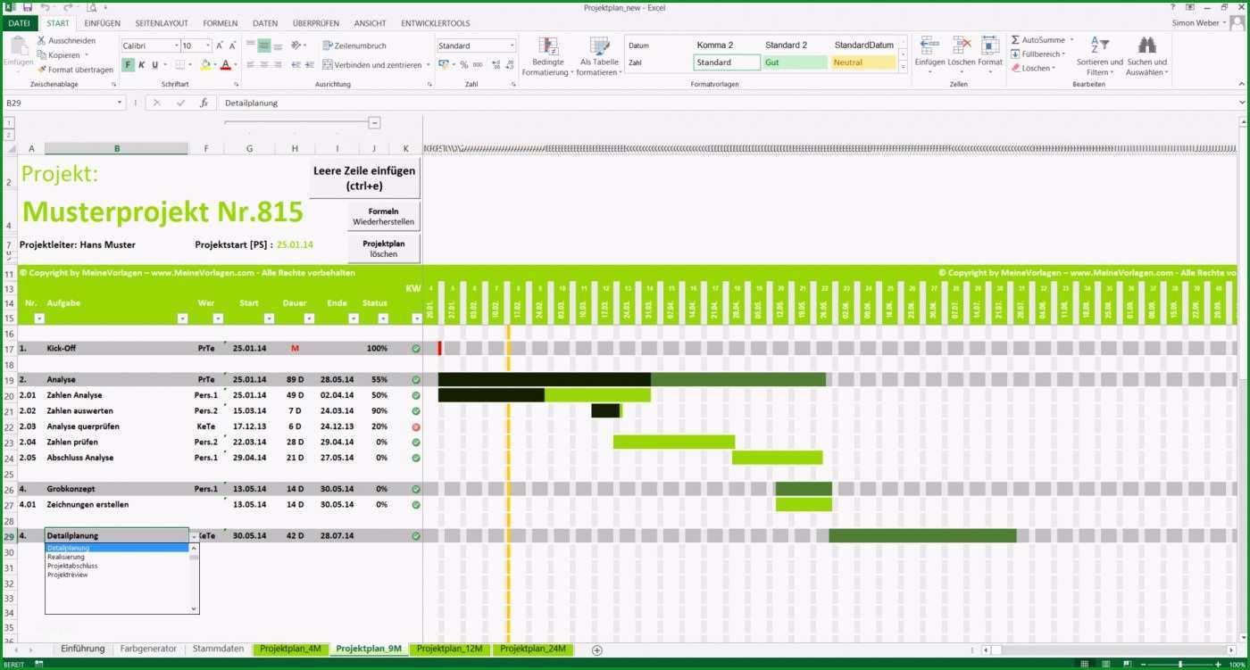 projektplan excel projektablaufplan zeitplan terminplan gantt