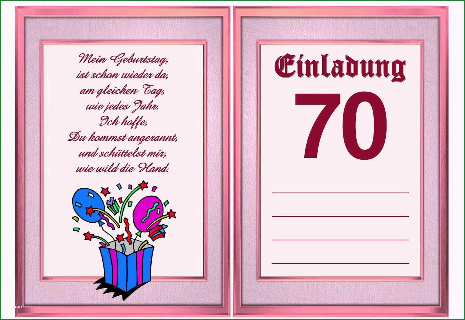 Unglaublich Einladung Zum 70 Geburtstag Vorlage Kostenlos