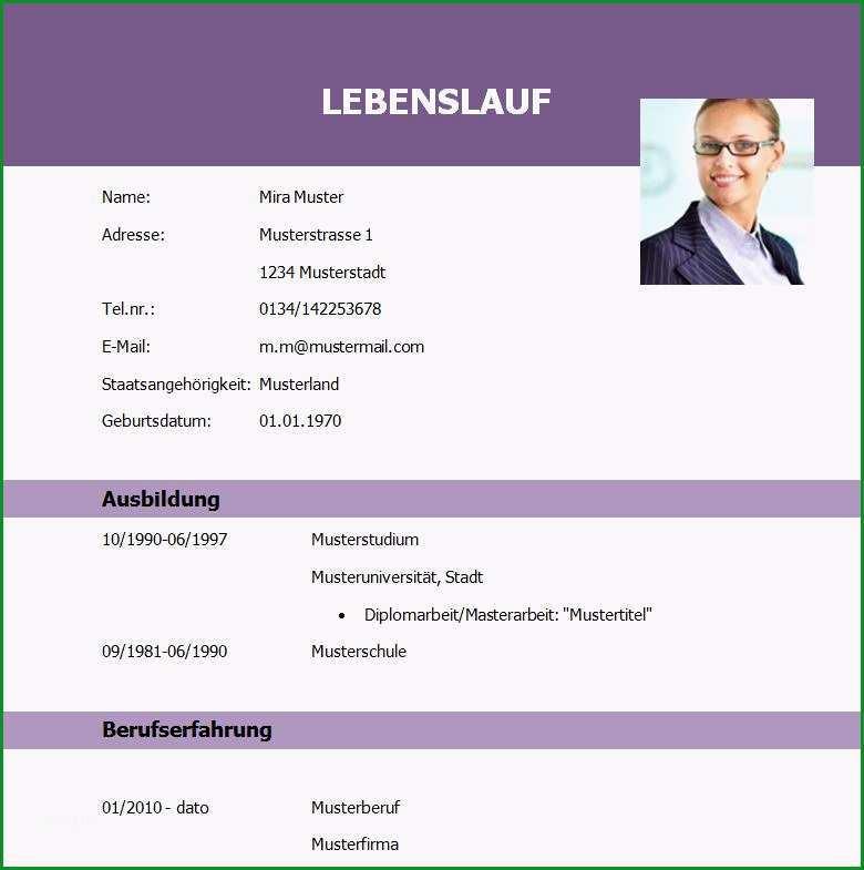 lebenslaufvorlage student absolvent lila