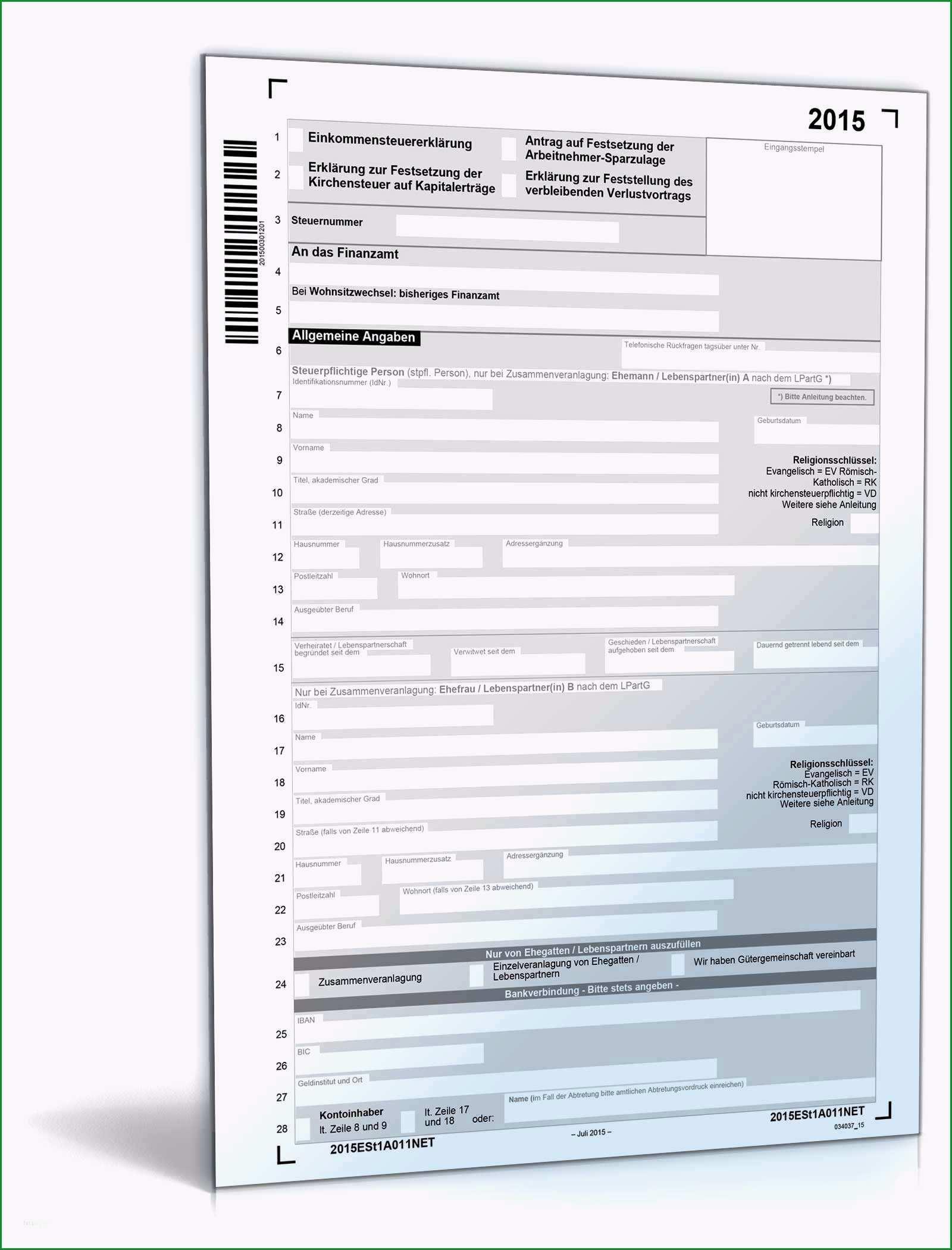 steuererklarung 2016 vorlage best of einkommensteuererklarung 2015 formular