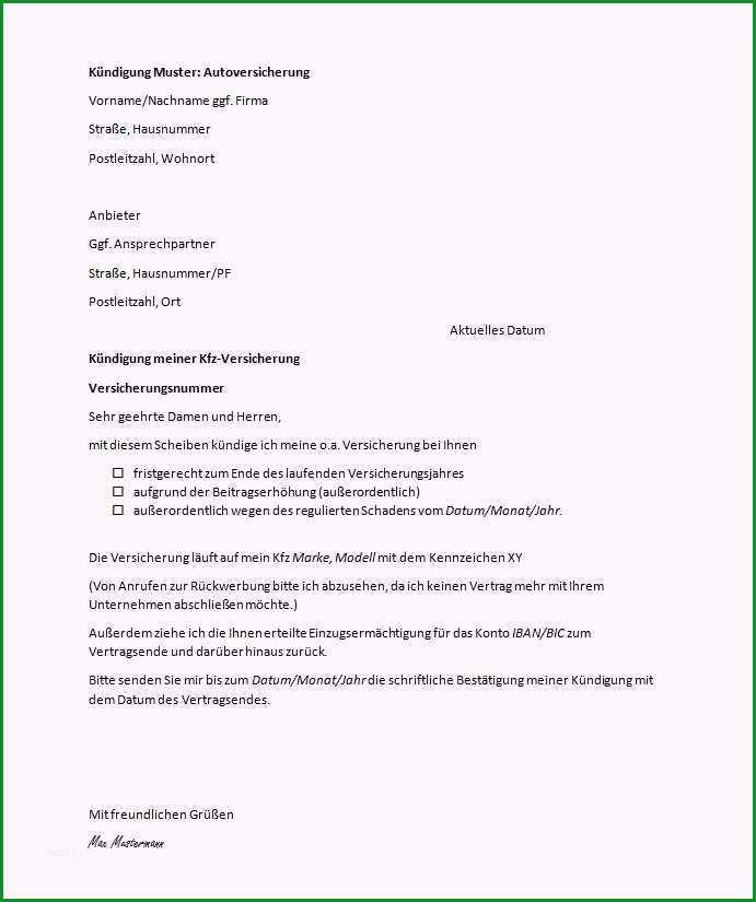 vorlage einschreiben mit ruckschein genial kfz versicherung kundigen kundigungsfrist