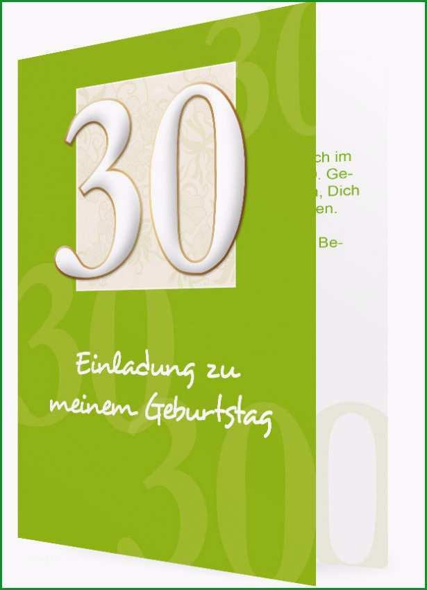 Vorlage fuer Einladung zum 30 Geburtstag Gruen mit 30 in Weiss 290