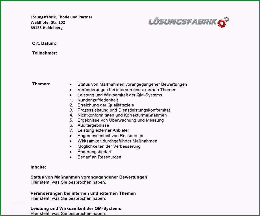 vorlage managementbewertung managementreview iso 9001 2015