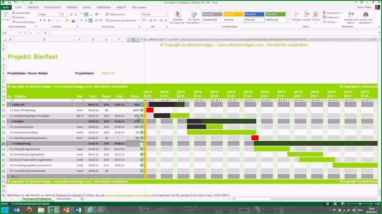 ausbildungsplan vorlage excel angenehm tutorial fur excel projektplan terminplan zeitplan