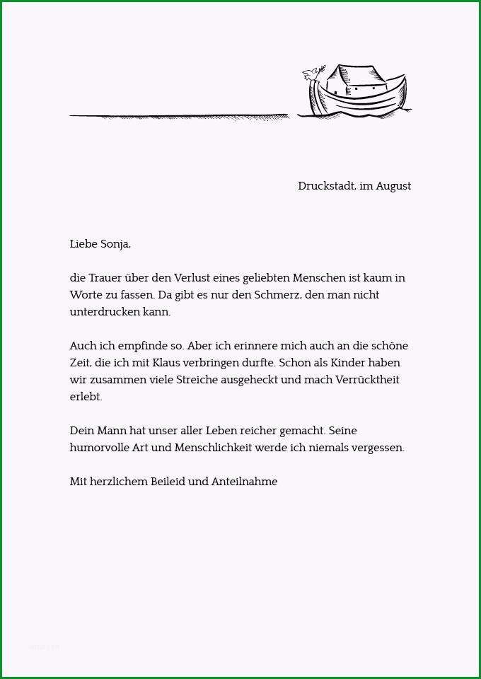 kondolenzbrief zum ausdrucken