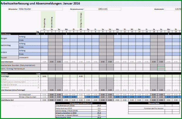 Unvergesslich Excel Arbeitszeiterfassung Vorlage 2016