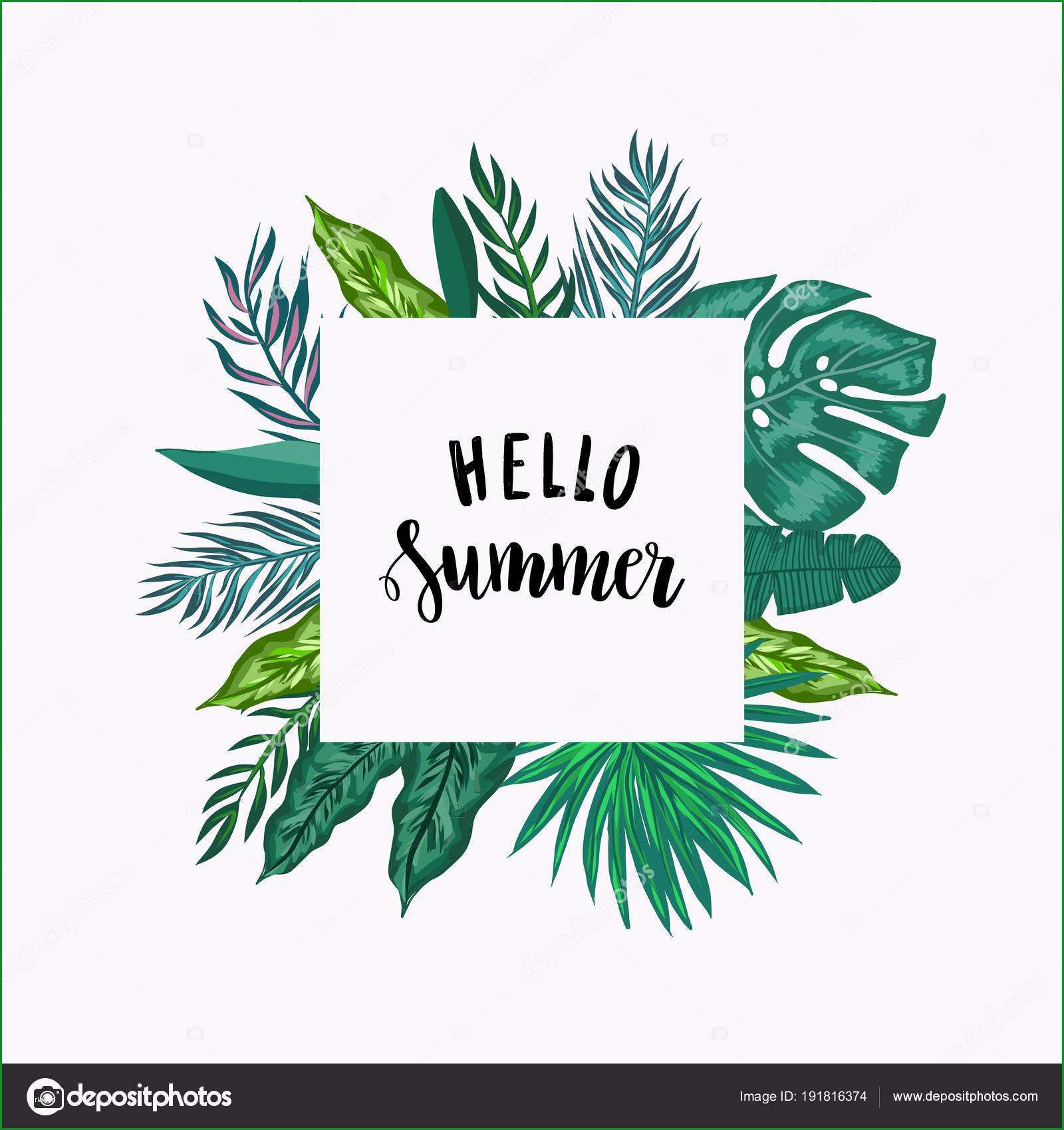 stock illustration green palm leaves template