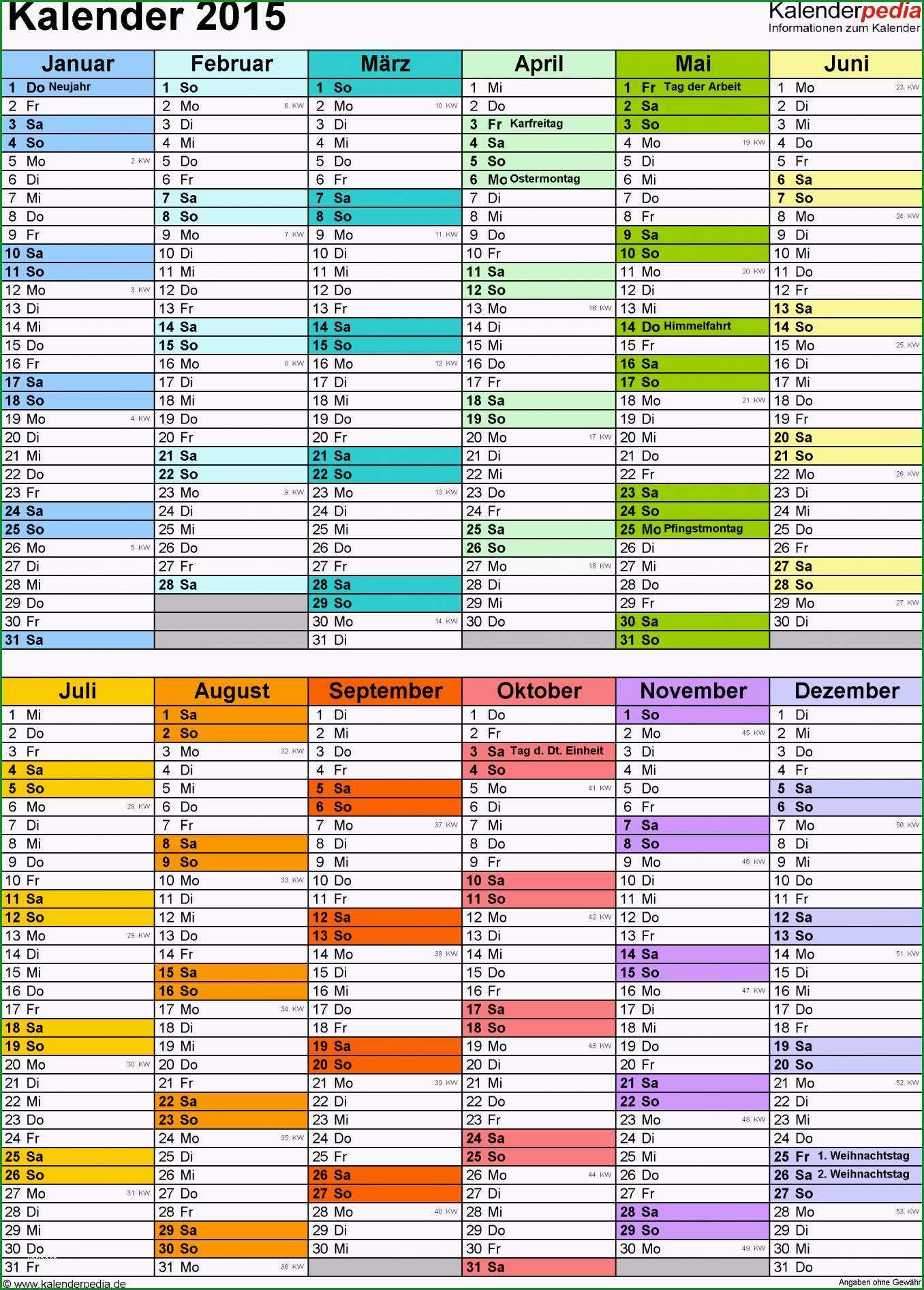 kalender 2015 excel vorlage
