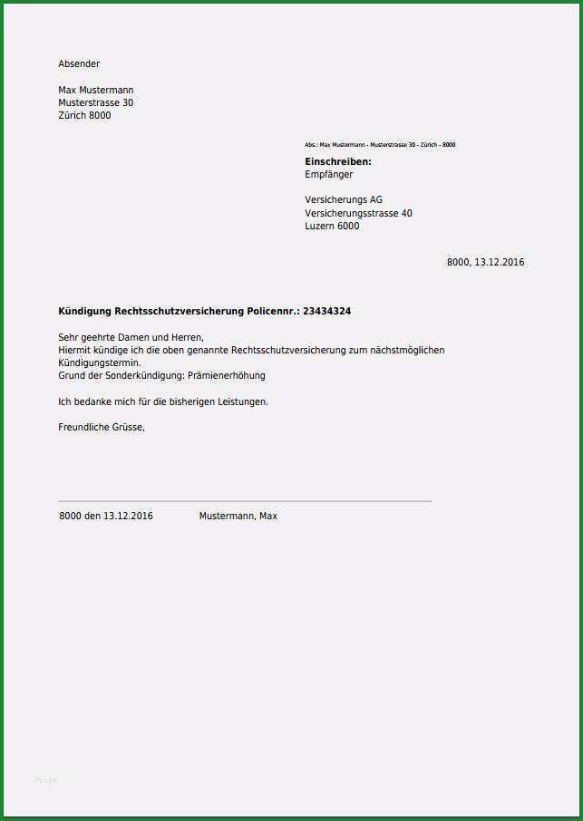 kundigungsschreiben vorlage versicherung wunderbar kundigung fur rechtsschutzversicherung kostenlos als pdf