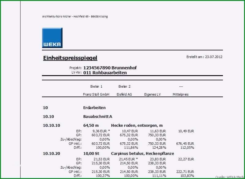 leistungsverzeichnis vorlage