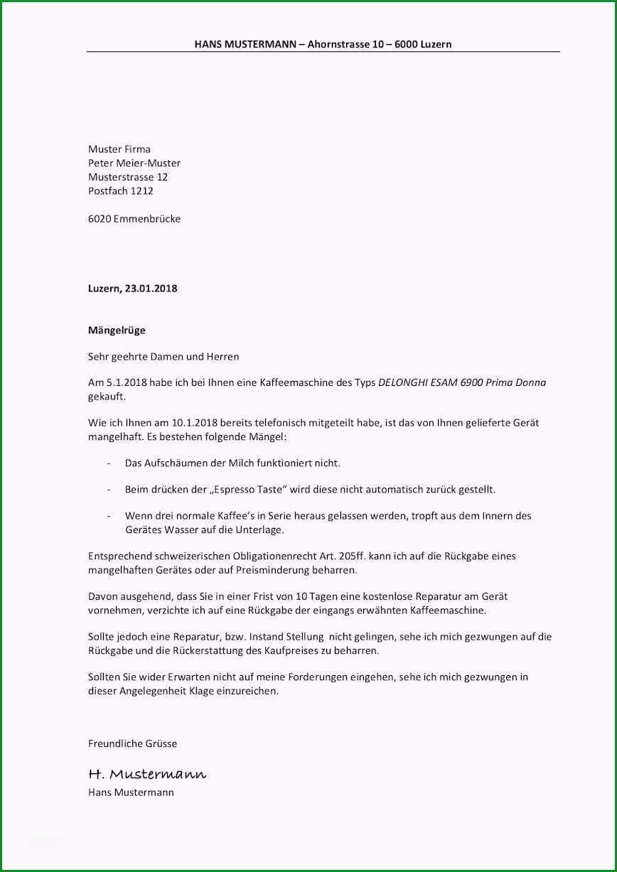 Unvergesslich Mängelrüge Vorlage Musterbrief Schweiz