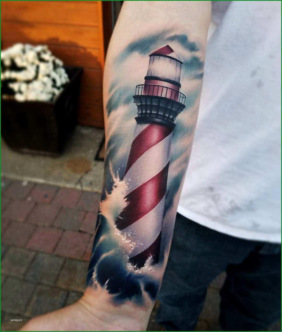 Unvergesslich Tattoo Realistischer Leuchtturm